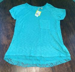 NWT Women's Turquoise CHENAULT Pocket Knit Over Sized Blouse Size Small S $68 $11.19