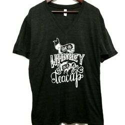 American Apparel Womens Tshirt L She Is Whiskey In A Teacup Gray Graphic Tee