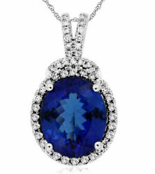 ESTATE LARGE 5.37CT DIAMOND & AAA TANZANITE 14K WHITE GOLD 3D OVAL HALO PENDANT