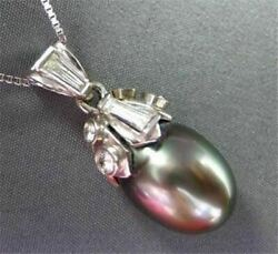 ANTIQUE LARGE .80CT DIAMOND 14KT WHITE GOLD AAA TAHITIAN PEARL DROP PENDANT #167