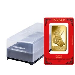 Box of 25 - 100 gram PAMP Suisse Year of the Mouse  Rat Gold Bar (In Assay)