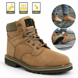 Brown Men#x27;s Work Boots Safety Genuine Leather Shoes Waterproof Anti Slip Cushion $29.99