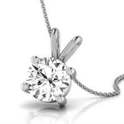 SOLITAIRE 3 CT NECKLACE ROUND SHAPE SI1 4 PRONG WOMENS WEDDING 14K WHITE GOLD
