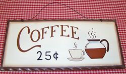 Rustic Country Wood sign quot;COFFEE 25cquot; home Kitchen decor collector gift $5.95