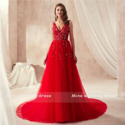 Red V neck Tulle Prom Dresses Sequin Bead A Line Party Pageant Ball Evening Gown