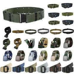 Men Casual Sports Tactical Wide Waistband Adjustable Military Army Waist Belt US