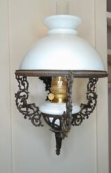 GIANT CAST IRON WALL OIL LAMP WITH KNIGHT AND GARGOYLE AND HORSES $295.00
