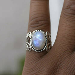 Women's Opal Ring Silver Carved Vintage Floral Hollow Jewelry Gift Size 6-10