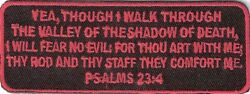 PSALMS 23:4 (RED) CHRISTIAN RELIGIOUS BIKER IRON ON PATCH