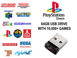 64GB USB drive for PlayStation Classic 150 PS1 & 10000+ Retro Games SNES NES