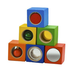 HABA Stack & Learn Blocks - 6 Colorful Wooden Cubes with Accoustic & Optical E..