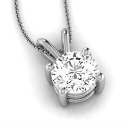4 PRONG SOLITAIRE 2 CT REAL 14 KT WHITE GOLD COLORLESS NECKLACE ROUND LADIES