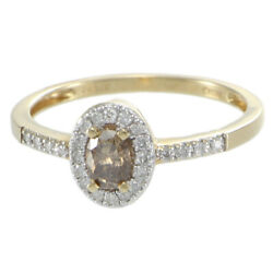 Oval Champagne Diamond Halo Band Ring Womens 14k Yellow Gold 0.50ctw US 9.00