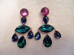 Scaasi Chandelier Clip Earrings Green Blue Pink Runway Statement Signed Superb $74.99