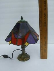 Beautiful Vtg Mini Stained Glass Tiffany Style Lamp Red wGold & Purple Shade $32.99