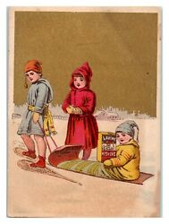 Kids Snowshoes Sledding Lavine Soap for Washing Victorian Trade Card *VT22 $6.95