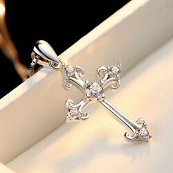 Women's Cross White Crystal Pendant Sterling Silver 18quot; Chain Fashion Necklace $14.99