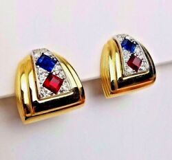 Givenchy Earrings Clip Rhinestone Gold Pave Signed Couture Vintage $139.95