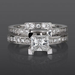 2.35 CT DIAMOND RING MATCHING BAND SET 18 KT WHITE GOLD SOLITAIRE
