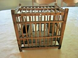 Small Rustic Primitive Antique Bird Cage WOOD Water Bowl Vintage