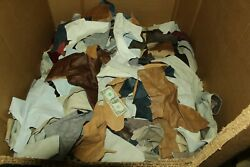 10 LB Box MIXED COLORS Cowhide Remnants Scrap Leather Pieces10 LB FREE SHIP $28.98