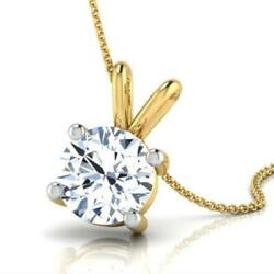 NECKLACE ROUND PENDANT SOLITAIRE 3 CARAT 14 KT YELLOW GOLD 4 PRONG CERTIFIED