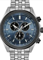 Citizen BL5568-54L Brycen Perpetual Calender Men's Watch - SilverBlue face