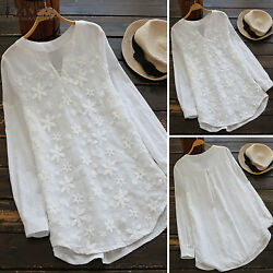 US Women Lace Embroidered Flower Blouse Casual Tunic Tops Baggy Autumn Plus Size