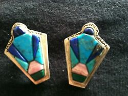 GORGEOUS!!! STERLING w TURQUOISE LAPIS INLAY CLIP ON NAVAJO EARRINGS A.SANCHEZ