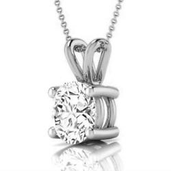 PENDANT NECKLACE ROUND BRILLIANT NATURAL LADIES 2.5 CT 14K WHITE GOLD 4 PRONGS