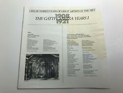 Gatti Casazza Years I 1908 1921 100 Years Great Artists at the Met Album Booklet $12.39