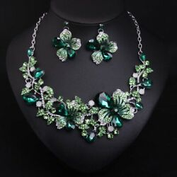 Exquisite Flower Crystal Rhinestone Necklace Earring Set Banquet Accessories