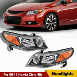 2006-2011 For Honda Civic Coupe 4Dr Headlights Head Lamps JDM Black Left+Right