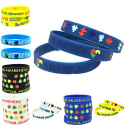 Support Autism Awareness Silicone Wristband Colored Bracelet Bangle Jewelry