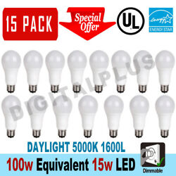 15 LED Light Bulbs 15W  100W Replacement 1600L Daylight 5000K A19 Dimmable E26