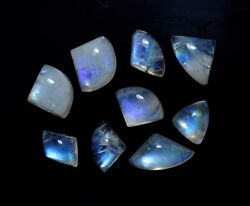 Natural Flashy Blue Fire Moonstone Cabochon Loose Gemstone For Jewelry R1083