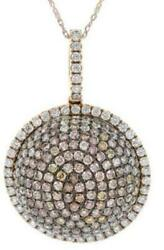 LARGE 3.87CT MULTI COLOR DIAMOND 18K ROSE GOLD CLUSTER CIRCULAR FLOATING PENDANT