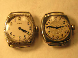lot of 2 clean dial art deco ladies elgin wire lug watches for repair or parts