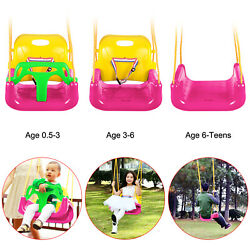 3 In 1 bucket Seat Jungle Swing Set Toddler Baby Playground Outdoors Game Pink