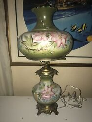 LARGE HURRICANE LAMP Gone With The Wind GWTW ANTIQUE vintage brass HAND PAINTED
