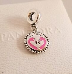 NWT Authentic Pandora South Beach Flamingo Pink Enamel Silver Charm 791169_16
