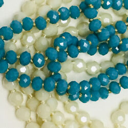 Set Faceted Crystal Bead Necklaces Turquoise & Ivory 60