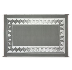 Indoor Outdoor Egyptian Patio Mat RV GrayWhite Camping Carpet Deck 9x12'