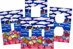 COLORFUL BEACH CLOUD UMBRELLAS SAIL BOATS FOLK ART SWITCH PLATE COVER HOME DECOR