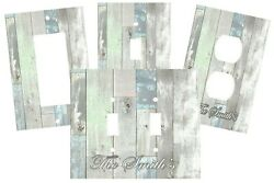 PERSONALIZED COASTAL BEACH BLUE GRAYS AGED WOOD LOOK SWITCH PLATE COVER DECOR  $10.75