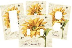 PERSONALIZED COUNTRY RUSTIC BEE SUNFLOWER LIGHT SWITCH PLATE OUTLET COVER DECOR $10.75