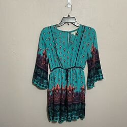 Gianni Bini Long Cinched Sleeve Mini Dress Teal Boho Style Front Tie Lined Sz XS