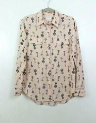Equipment Small Silk Button Down Shirt Long Sleeve Blouse Top Key Print