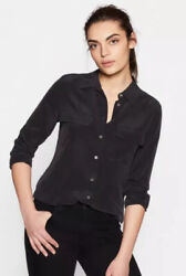 Equipment slim signature silk shirt true black XS