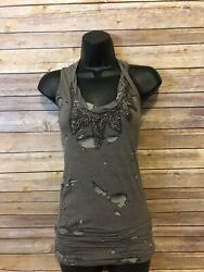 Miss Me Razorback Tank Top Size Small Womens Brown Sleeveless Shirt Blouse
